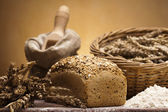 Flour and traditional bread — Stock Photo