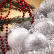 Christmas background with baubles - Stockfoto