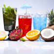 Stock Photo: Cocktails, alcohol drinks with fruits