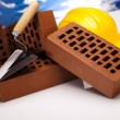 Construction tool, Brick background - Stockfoto