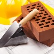 Construction tool, Brick background - Stock Photo