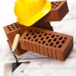 Construction tool, Brick background - ストック写真