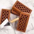 Construction tool, Brick background — Stock Photo