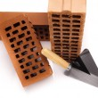 Trowel and bricks - Stock Photo