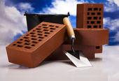 Trowel and bricks — Stock Photo