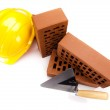 Building house, trowel and bricks — Stock Photo #18843381