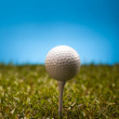 Golf ball on green grass over a blue background — Stock Photo #18846967
