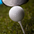 Golf ball on tee in driver — Stock Photo