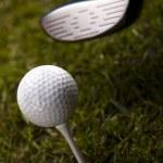 Playing golf, ball on tee — Stock Photo #18852547