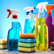 Group of assorted cleaning - Stock Photo