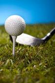 Golf ball on green grass over a blue background — Stock Photo