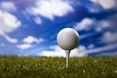 Golf ball on green meadow — Stock Photo