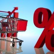 Shopping supermarket cart, percent sign — Stock Photo #22654957