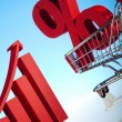 Shopping supermarket cart, percent sign — Stock Photo