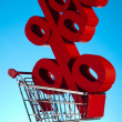 Shopping supermarket cart, percent sign — Stock Photo #22658939