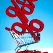 Shopping trolley Percent — Stock Photo
