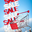 Shopping trolley, sale — Stock Photo