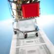 Shopping supermarket cart — Stock Photo