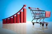 Gráfico de crescimento, carrinho de compras — Foto Stock
