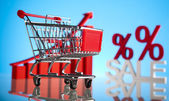 Sales growth chart, Shopping cart — Stock Photo