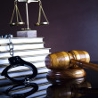 Stock Photo: Handcuffs, Legal gavel