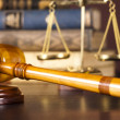 Judges gavel and law books — Stock Photo