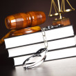 Stock Photo: Judges gavel and law books