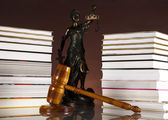 Judges wooden gavel and law books — Stock Photo