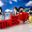 Diet and fitness, dumbell in vitamins - Stock Photo