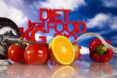 Diety a fitness, činka na vitamíny — Stock fotografie