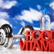 Stock Photo: Diet and fitness, dumbell in vitamins