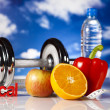 Dumbell in vitamins — Stock Photo #24803155