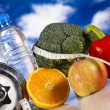 Dumbell in vitamins — Stock Photo