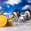 Dumbell in vitamins — Stock Photo #24803309