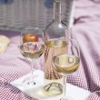 Wine and picnic basket on the grass — Stock Photo #28438607