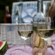 Wine and picnic basket on the grass — Stock Photo #28438989