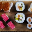 Variation of fresh tasty sushi food — Stock Photo