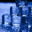 Blue and shiny ice cubes — Stock Photo