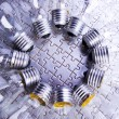Stock Photo: Circle of lightbulbs