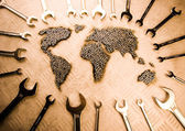 World made from spanners — Stock Photo