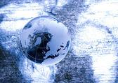 Crystall míč a svět — Stock fotografie
