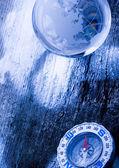 Compass and Crystall ball — Stock Photo