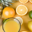 Orange juice and fresh fruits — Stock Photo