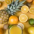 Orange juice and fresh fruits — Stock fotografie