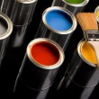 Stock Photo: Paint brush and cans