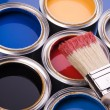 Paint brush and cans of paint — Foto de Stock