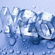 H2O letters and waterdrops — Stock Photo