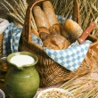 Milk, oatmeal and a basket of bread — Stock Photo