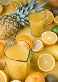 Orange juice and fresh fruits — Foto Stock