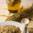 Serving of oatmeal and honey — Stockfoto